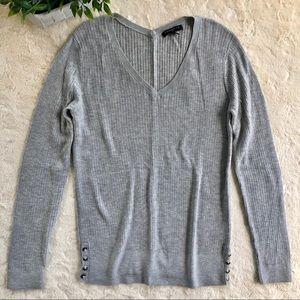 Banana Republic gray wool v neck sweater buttons